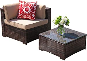 Patiorama 2-Piece Outdoor Patio Furniture Set, All-Weather Dark Brown Wicker Patio Sectional Sofa Set with Glass-top Coffee Table, Corner Sofa Chair, Beige Cushions