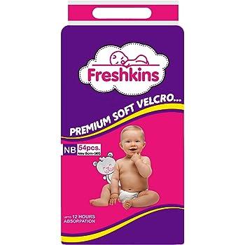 Freshkins Taped Diaper, White,New Born, 54 Unit