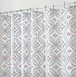 mDesign Cortina de ducha con diseño de azulejos – Cortina de baño antimoho con el tamaño perfecto: 183 x 183 cm – Práctico accesorio para ducha, lavable en la lavadora – Color azul