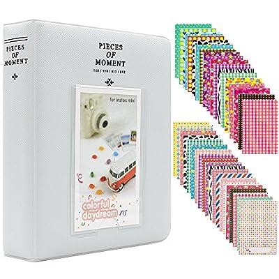 Ablus 64 Pockets Mini Photo Album for Fujifilm Instax Mini 7s 8 8+ 9 25 26 50s 70 90 Instant Camera & Name Card (64 Pockets, Smokey White)
