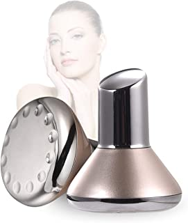 Face Skin Care Massager Portable Facial Machine with Micro Magnetic Vibrating High Frequency for Anti-Aging, Skin Tightening, Reducing Wrinkles, Ion Essence Cleaner Instrument Golden