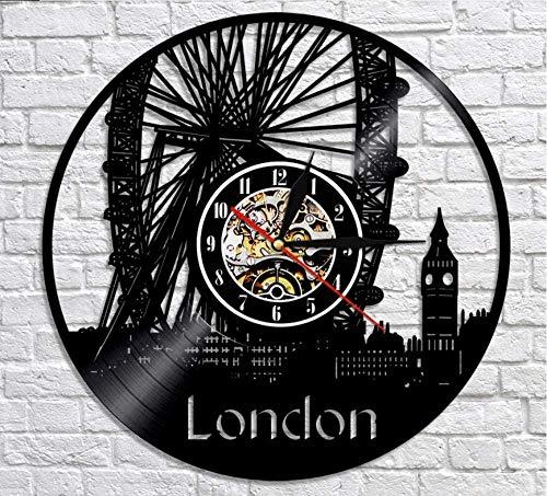 ZZNN Vinyl record wall clock London Ferris Wheel Wall Decor Wall Watch London Eye Vinyl Record Wall Clock England Big Ben Decorative Modern Clock London Gift cjdm2527 Vinyl wall clock