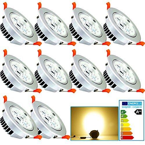 fsders VINGO LED 7W Einbaustrahler Geringe Einbautiefe Warmweiß Dimmbar Einbauleuchten für Badezimmer Geschäft aluminium 7 W, 10x