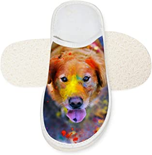 Aslgisy Indoor Shoes,Creative Color Paint Smear Golden Retriever Car Auto Motor Racing Print Slippers for House/Home