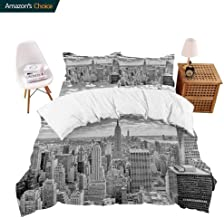 PRUNUSHOME Deep Fitted Sheet Set NYC Over Manhattan from Top of Skyscrapers Urban Global Culture Artful City Extra Soft - Full