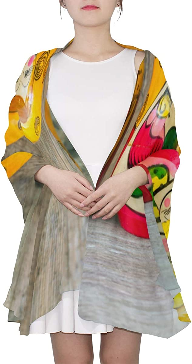 Colorful Russian Nesting Dolls Unique Fashion Scarf For Women Lightweight Fashion Fall Winter Print Scarves Shawl Wraps Gifts For Early Spring