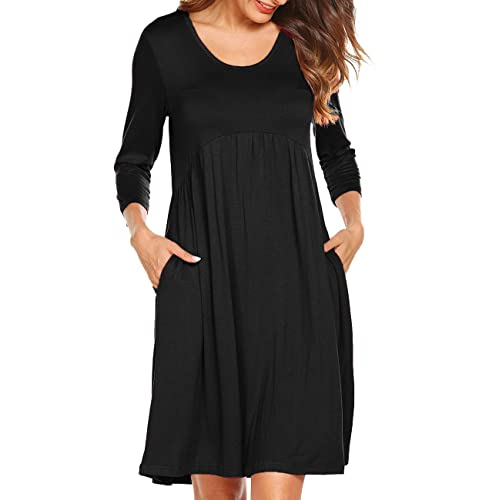 f1494ca0a63 Naggoo Women 3 4 Sleeve Scoop Neck Empire Waist Pleated Loose Swing Tunic  Dresses with