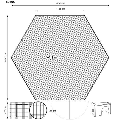 dobar 80605 Großes Kaninchengehege aus 6 Elementen, mit Nylon Netz und Holzhaus, XXL Freilauf für Hasen, Freilaufgehege XL, 165 x 145 x 60 cm, Silber - 2