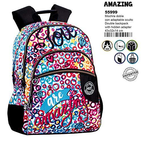 43 cm, Montichelvo Montichelvo Double Backpack A.O CG People Bolsa Escolar Multicolour