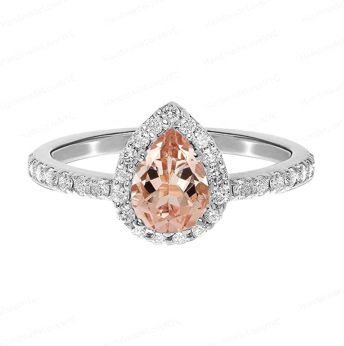 Shine Jewel 7X5 MM Latest item Pear Silver Gemstone Luxury Solitaire Morganite 925