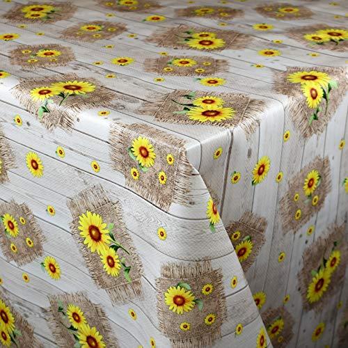 KEVKUS Wachstuch Tischdecke Meterware 115A Sonnenblumen auf Holz Blumen Sommer Garten wählbar in eckig rund oval (Rand: Paspel (mit Kunststoffband), 130 x 160 cm eckig)