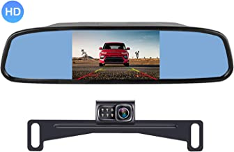 AMTIFO A1 HD 720P Backup Camera with 4.3'' Mirror Monitor for Cars,Minivans,SUVs,Trucks Licence Plate Rear View Hitch Camera,Easy Installation Rear/Front View Camera Adjustable
