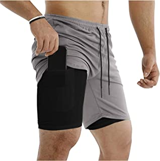 Mens Gym Workout Shorts Elastic Drawstring Training Bodybuilding Short