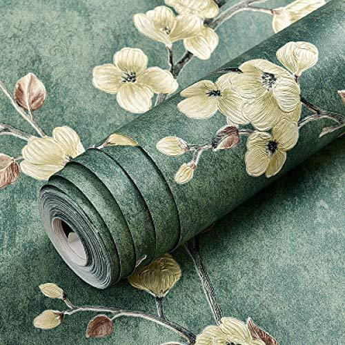 LZYMLG Papel pintado autoadhesivo no tejido retro nórdico dormitorio sala de estar pared papel pintado decorativo DIY engrosamiento impermeable Verde oscuro