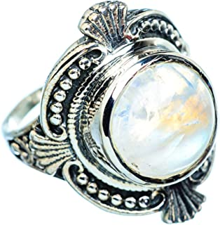 Rainbow Moonstone Ring Size 9.25 (925 Sterling Silver) - Handmade Boho Vintage Jewelry RING955299