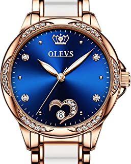 Ladies Watch Heart Shaped Date Diamond Face Automatic Watch OLEVS Rose Gold Ceramic Stainless Steel Strap Waterproof Lumin...