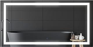 HOMCOM Miroir Lumineux LED Salle de Bain Miroir rectangulaire 53 W Fonction antibuée Interrupteur Tactile 120L x 60l cm