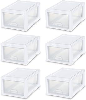Sterilite 20518006 6 Quart/5.7 Liter Stacking Drawer, White Frame with Clear Drawer, 6-Pack