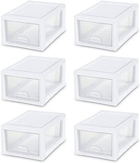 STERILITE 20518006 6 Quart/5.7 Liter Stacking Drawer, White Frame with Clear Drawer
