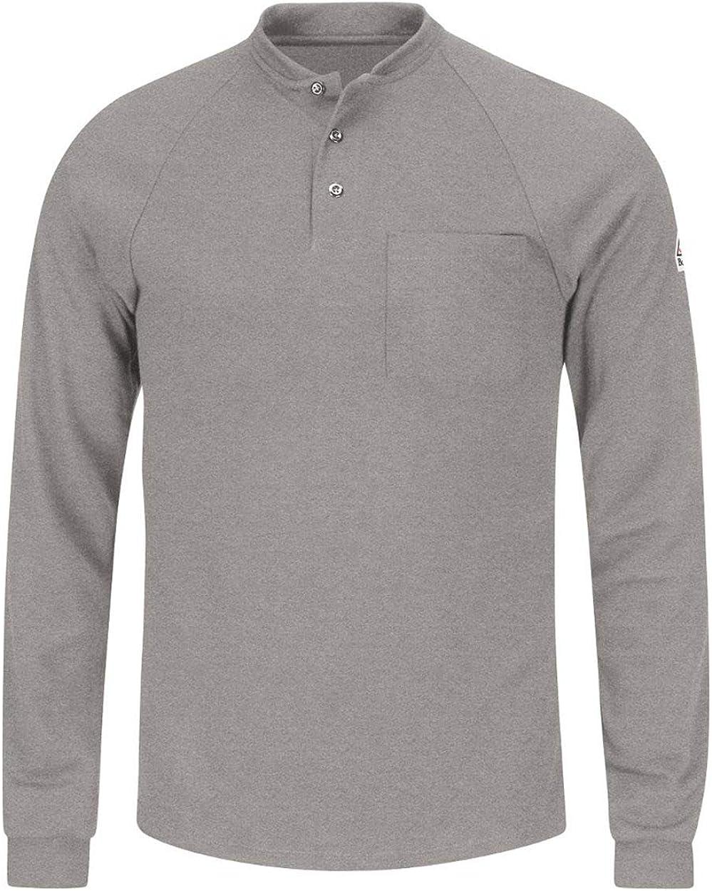 Men's Bulwark FR Long Sleeve Henley Shirt - CoolTouch2 6.5 oz Grey