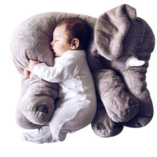 Kenmont Animal mignon Elephant Oreiller Throw Coussin éléphant Dormir farcies peluche Oreillers peluche Peluches pour bébé d'enfants tout-petits bébés cadeaux (gris)