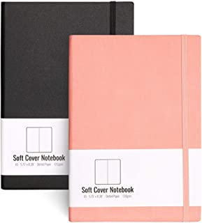 A5 Dotted Bullet Grid Softcover Journals(2-Pack)- AHGXG Dot Grid Notebook 5.75 x 8.38 inch with Premium Thick 120gsm Dot Paper, Total 320 Numbered Pages, blackpink