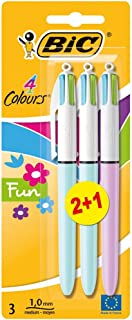 BIC 4 Colours Fun Retractable Ballpoint Pens - Pack of 2 + 1 (3 Total) - Medium Point (1.0 mm) - Assorted Fashion Body Col...