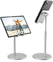 iPad Tablet Holder Stand, Height Angle Adjustable Desktop Cell Phone Stand All Aluminum Compatible with iPhone iPad Pro 11, 9.7, 10.5 Air Mini 4 3 2, Nexus, Tab, Kindle, E-Reader (4-11'') - Silver