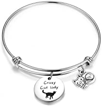 ENSIANTH Crazy Cat Lady Bracelet Cat Lover Jewelry Cat Mom Gift Kitten Bracelet Gift for Her