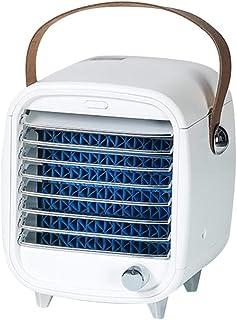 Warmwin Mini radiador USB Recargable portátil pequeño refrigerador Aire Acondicionado Ventilador con luz Nocturna Ventilador de enfriamiento de Hielo (Enchufe Americano) -Blanco