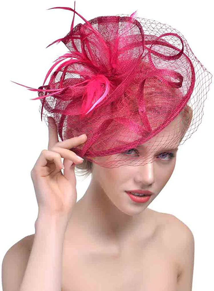Belyee Feather Fascinator Hats for Women Cocktail Tea Party Hats with Hair Clip