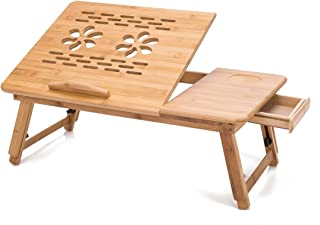 THY COLLECTIBLES Multi Function Bamboo Lapdesk Table Laptop Stand Breakfast Trays Bed Serving Tray with Adjustable Legs 19 3/4
