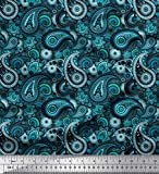 Soimoi Blau Baumwolle Ente Stoff Blumen & Paisley Dekor