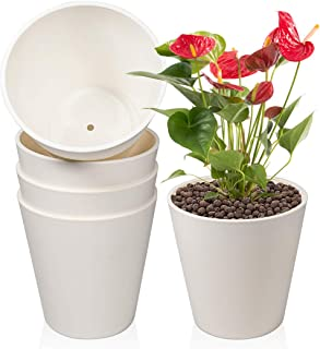 Plastic Planter, 5 x 6 inch Flower Pots Indoor with Drainage Hole and Plugs for All House Plants, Succulents, Flowers, and...