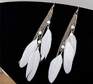 1 Pair Feather Dangle Earrings Bohemian Style Women Jewelry 3 Big Feather Tassel Hook Ear Stud Earrings with Beads- White