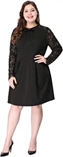 Agnes Orinda Women's Plus Size Above Knee Tie-Bow Cocktail Party Lace Midi Office Work Dress