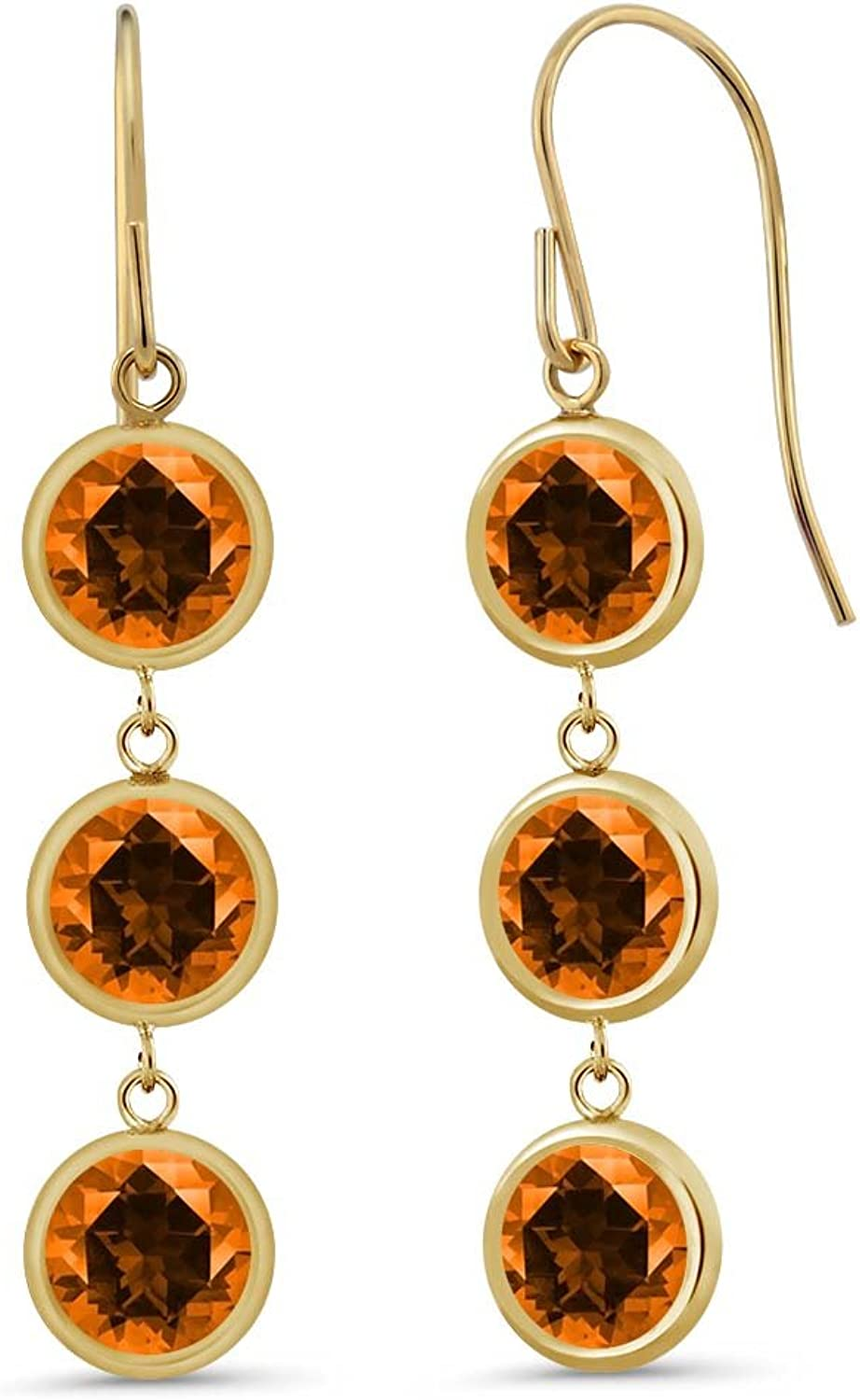 3.30 Ct Poppy 14K Yellow gold Earrings Natural Topaz Cut by Swarovski