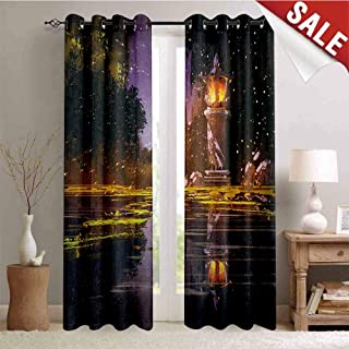 Hengshu Landscape Window Curtain Drape Idyllic Scenery at Night with a Stone Lantern Fireflies and Forest Trees Swamp Customized Curtains W108 x L96 Inch Multicolor