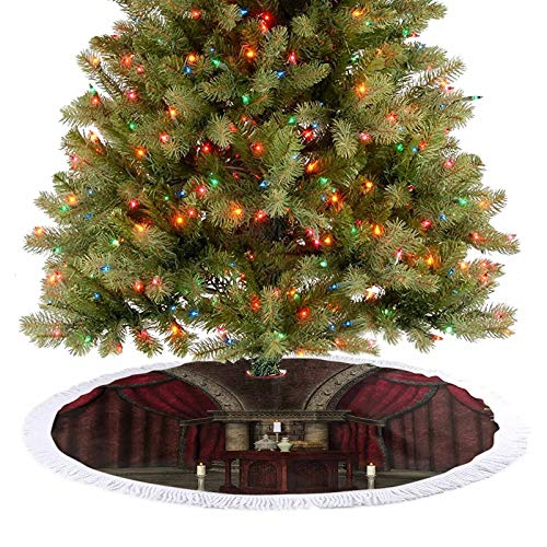 Adorise Tree Skirt Mysterious Dark Room in Castle Ancient Pillars Candles Spiritual Atmosphere Pattern Holiday Party Decoration for Holiday Decorations - 30 Inch
