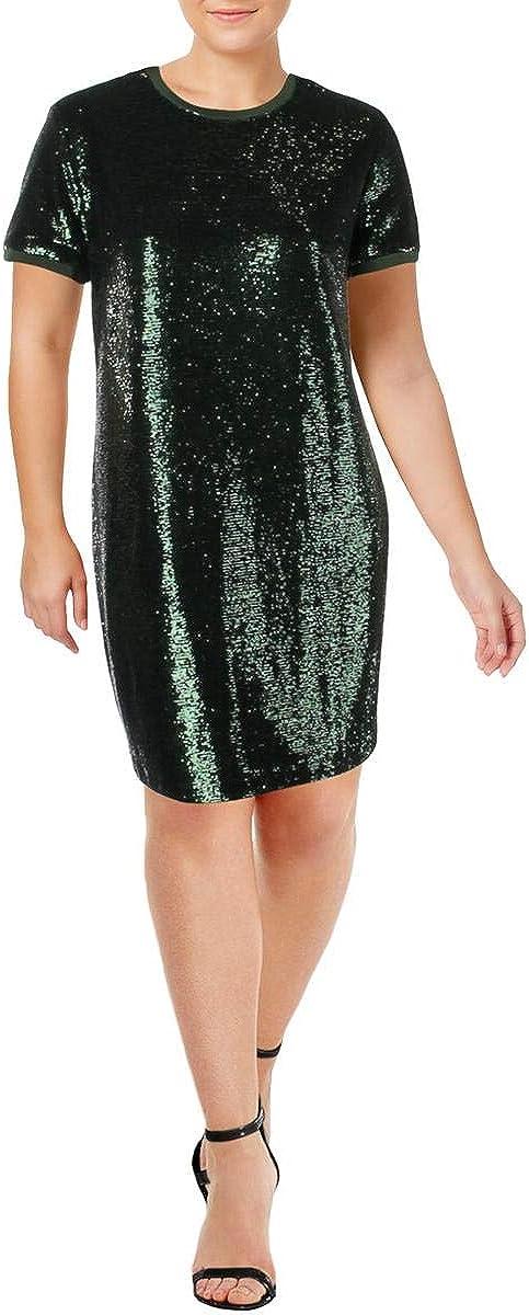 Ralph Lauren Finally popular brand Bargain Womens Short Sleeve Green 14 Dress Sheath Sequin
