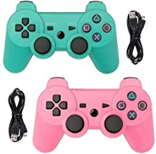 Tidoom PS3 Controller 2 Pack Wireless Bluetooth 6-Axis Gamepad Controllers Compatible for Playstation 3 Dualshock 3 Green + Pink