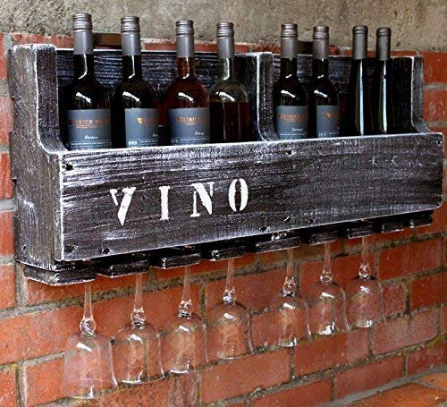 Hochwertiges Weinregal aus Holz für die Wand - mit Gläserhalter und VINO Schriftzug - braun antik - fertig montiert - Regal für Weinflaschen und Weingläser