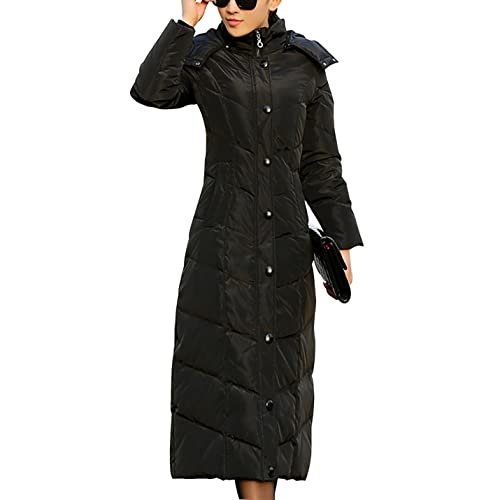 9e158bd3551b Gihuo Women s Long Slim Quilted Down Puffer Coat Thicker Down Hooded Parkas  (Black