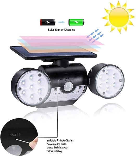 VEGASIGNS Solar Lights Outdoor Motion Sensor Solar Spotlights With Dual Head 30 LED Security Light Waterproof 360 Rotatable Motion Light Bright For Yard Garage Patio Flood Lights Outdoor