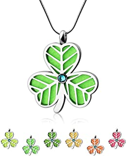 Aromatherapy Essential Oil Diffuser Necklace - TTstar Aromatherapy Clover Pendant Stainless Steel Locket Pendant with 6 Colors Refill Pads Gift Set for Women & Girls