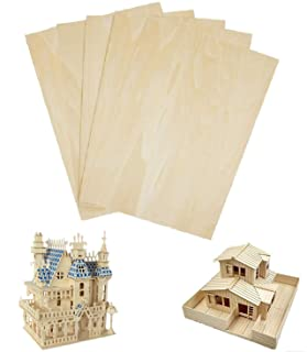 Basswood Sheets Unfinished Plywood for Crafts - 5 PCS 1/16 x 8 x 12Inch Thin Wood Sheet for Craft DIY