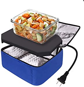 Aotto Portable Food Warmer,Lunch Bag,Personal Mini Oven,Prepared Meals Reheating & Raw Food,110V for Home Kitchen,Office,Travel (Blue)