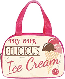 iPrint Vogue Small Handbag Pink,Ice Cream Decor,Try Our Delicious Ice Cream Logo Pop Art Style Advertisement Graphic Decorative,Pink Cream Umber,for Girls,Diversified Design.6.3