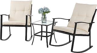 Shintenchi Outdoor 3-Piece Rocking Bistro Set,Wicker Patio Furniture Porch Chairs Conversation Sets with Glass Coffee (Bei...