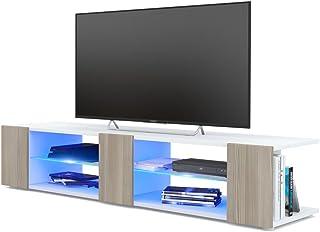 Mesa para TV Lowboard Movie V2 Cuerpo en Blanco MateFrentes en avola Champagne con iluminación LED en Azul
